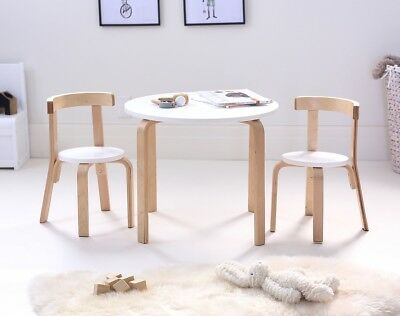 Hip Kids Boston White Birch Wood Table and 2 Chairs Set Children Toddler