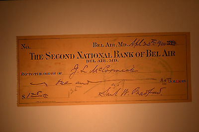 Lot of 3 Early Checks- Bel Air, Maryland-  Second National Bank