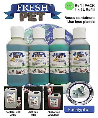 4 X 5L Eco-Refill Fresh Pet Super Concentrate - Kennel Disinfectant - Eucalyptus