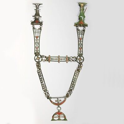 Superb Iron-age enamelled brooch & chain set