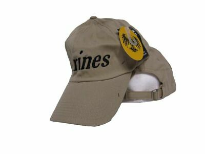 c737e159 EGA USMC Marine Marines Washed Beige Khaki Embroidered Cap Hat (Plain Back)