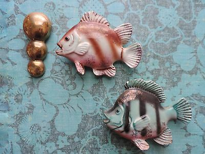 Vintage 1950s Ceramic Fish Wall Plaque JAPAN Pink Blue Bubbles Wall Hanging Pair