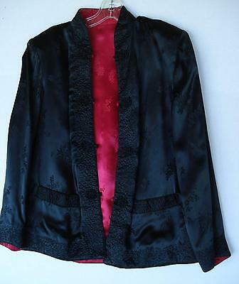 "'PEONY BRAND""Black/Red Reversible-Lg- Oriental Jacket-Embroidered-Mandarin-NWOT"