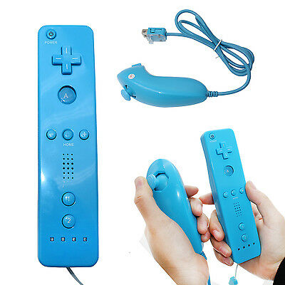 Blue Remote and Nunchuck Controller For Nintendo Wii + Silicone case