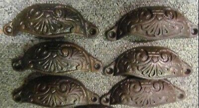 6 x 110mm RECLAIMED VICTORIAN  CAST IRON CUP PULL DRAWER HANDLES -W501-