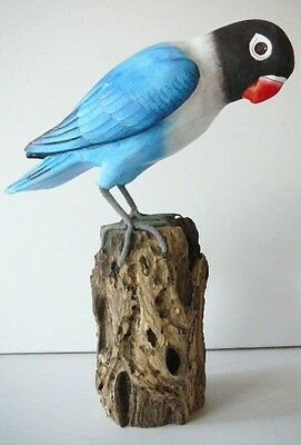 """8""""  Lovebird Figurine Perched On Log Parrot,blue & White,carving ,wood ,signed"""