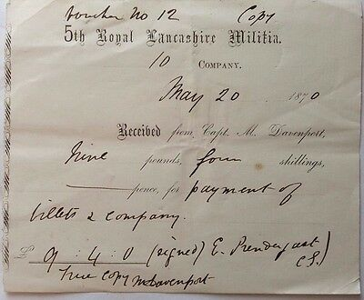 Great Britain 1870 Receipt Printed For 5Th Royal Lancashire Militia Davenport