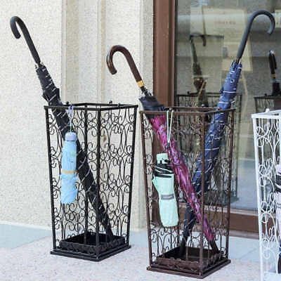 Antique Iron Umbrella Stand Holder Storage Rack with Hooks Stylish Black/Bronze