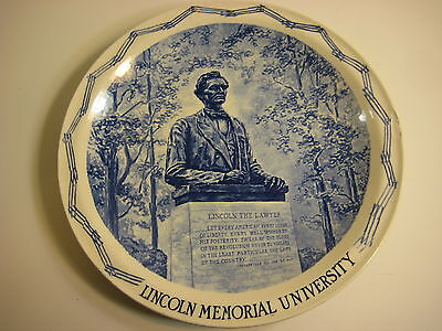 "Vernon Kilns Lincoln Memorial University Souvenir Plate, 10 1/4"" Diameter"