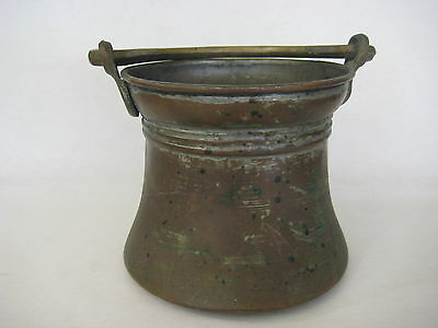 "Vintage Middle East Copper Pot With Cast Brass Handle, 6"" Tall X 6"" Diameter"