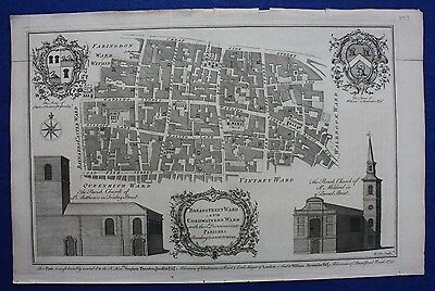 Original antique London map BREADSTREET & CORDWAINERS WARDS, Cole, Maitland 1756