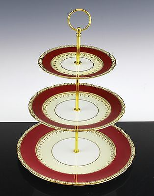 Very Nice Aynsley Desborough Pattern 3 Tier Cake Pastry Stand