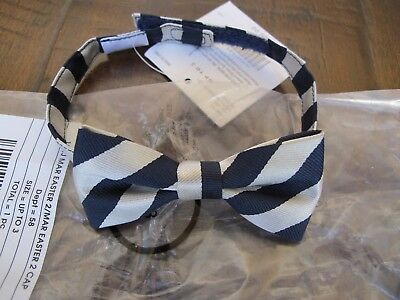 Janie and Jack Navy Blue Silver Bow Tie 0 1 2 3 Years NWT! HTF $20