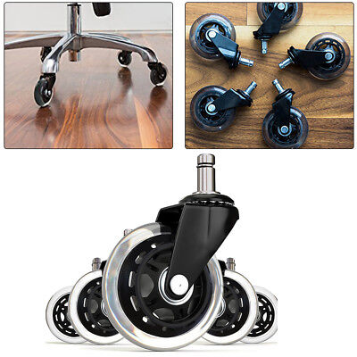 3 Inch Black Office Chair Rollerblade Style Soft Wheel Casters Ball Bearing Axle