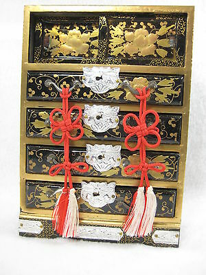 Antique Japanese Girl's Day Miniature Doll's Tansu Chest Makie Raised Gold