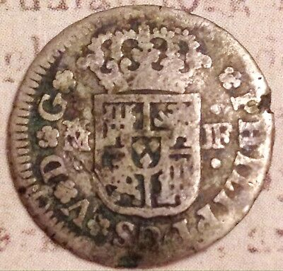 Dated Reale 1738 SILVER Pirate Coin Christian Cross ? Spanish Antique Kings Art