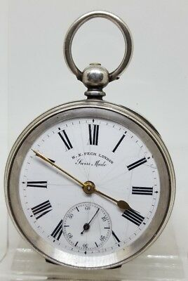 Antique solid silver gents H.E. Peck London pocket watch c1900 working