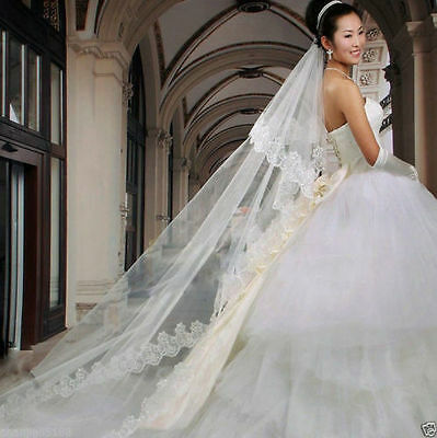 White Bridal Wedding Veil 1 or 2 Tier Cathedral Length Lace Trim Handmade