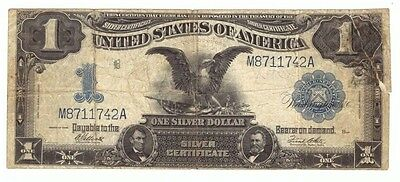 1899 $1 Silver Certificate Black Eagle Large Horse Blanket Currency Note! USC121