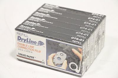 """6 Pack DryLine Refill Double Line Correction Film 2/6 x 472"""" Liquid Paper 074-01"""
