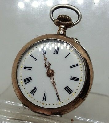 C1900 antique solid silver with gold bands ladies fob pocket watch working