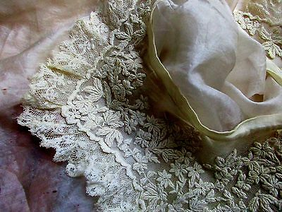 Antique Victorian Densely Embroidered Lace Net Collar Loveliest Lace Edge Trim