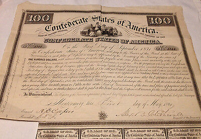 Confederate States of America Bond with coupons, 1 clipped