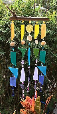Beachy Shell & Purple, Blues, Green & Yellow Stained Glass Mobile