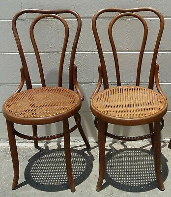 "Pair of Antique Bentwood (""Thonet"") Cafe Chairs by Fischel of Austria circa 1910"