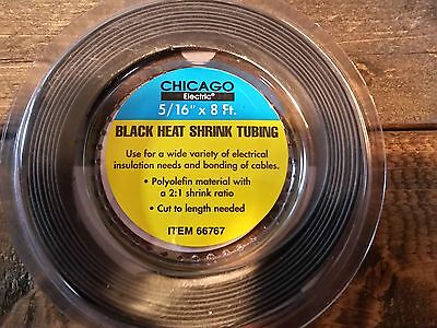 """Chicago Pneumatic Chicago Electric 5/16"""" x 8 Ft. Black Heat Shrink Tubing"""