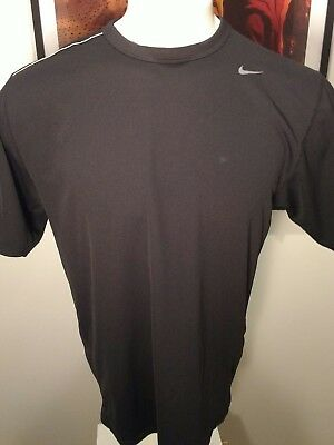 NIKE  Men's Size L Athletic FIT-DRY Short Sleeve Black Shirt