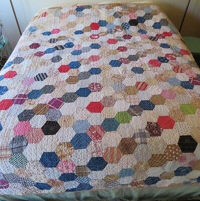 Vintage Antique Quilt, Hand Pieced Machine Sewn Calico Fabric, Cutter Or Not
