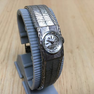Vintage Enicar Star Jewels Lady Silver Hand-Winding Mechanical Watch Hours~Runs