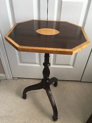 Vintage Statton Furniture Warfield Mahogany Pedestal Table Burled  Center Inlay