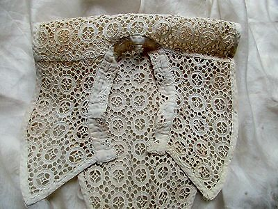 Antique Victorian Cotton Eyelet Broderie Lace Collar Trim Bodice Cream Ivory
