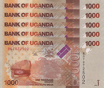 LOT, Uganda 1000 Shillings (2013) p49b x 5 PCS UNC