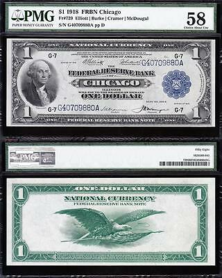 Amazing HIGH GRADE 1918 $1 Chicago GREEN EAGLE FRBN! PMG 58! FREE SHIP! 40709880