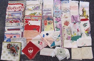 Lot of 58 Vintage floral cutter/craft Hankies handkerchiefs