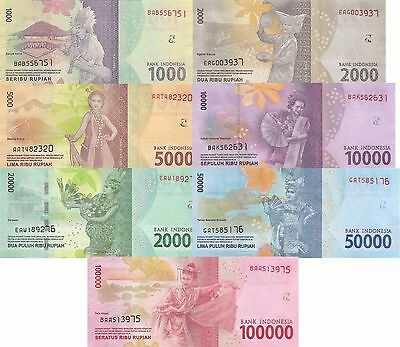 Indonesia 7 Note Set: 1000 to 100000 Rupiah (2016) - all pNew UNC