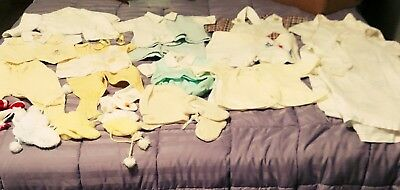 Vintage Lot Of Infant Clothing/ Booties/ Hat And Sweater
