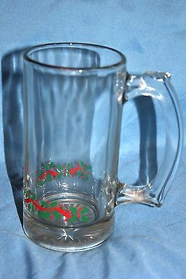 Libbey LRS3 Holly Berries and Ribbon Beer mug Clear glass with gold rim