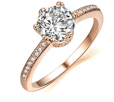 Womens 2.00 CT Carat Promise Engagement RING Round Cut Rose Gold Plated Size 5-9