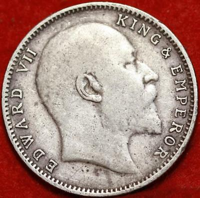 1907 India Rupee Silver Foreign Coin Free S/H