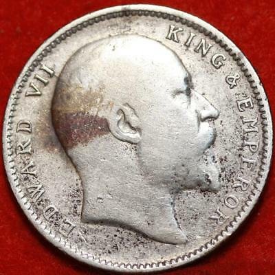 1905 India Rupee Silver Foreign Coin Free S/H