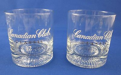 """Two (2) Canadian Club Whisky Rocks Glasses Set White And Gold Lettering 3 1/2"""""""