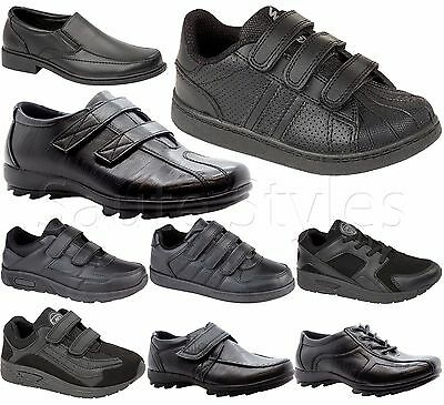 KIDS BOYS INFANTS FORMAL STRAP TRAINERS LEATHER BLACK BACK to SCHOOL SHOES SIZE