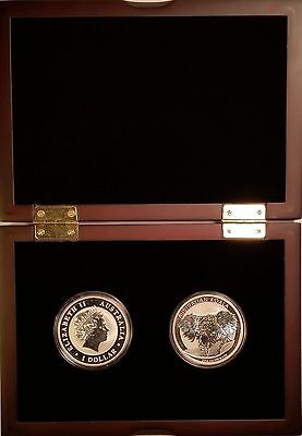 2014 (2) Uncirculated Silver Australian Koala Coins in Display Case