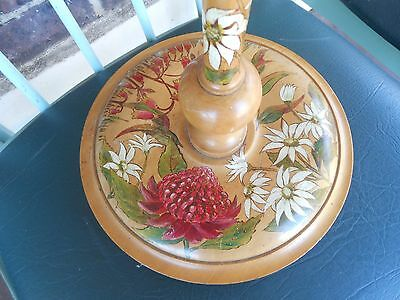 Beautiful Antique Vintage hand painted Pedestal Stand dated 1934~Oakleigh