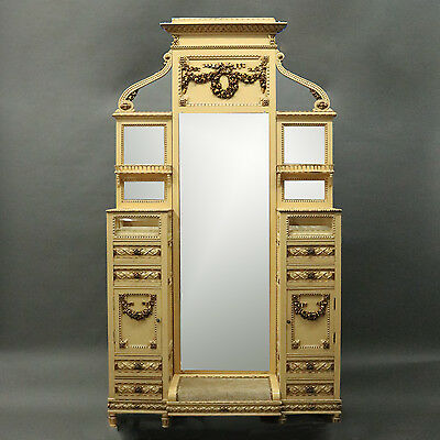 Antique French Provincial Dressing Table/Stand, Cheval Mirror and Vitrines