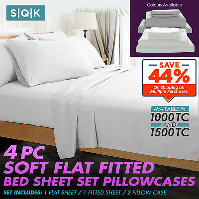 1500TC 1000TC 4 Pc Soft Flat Fitted Bed Sheet Set Pillowcases Single Queen King